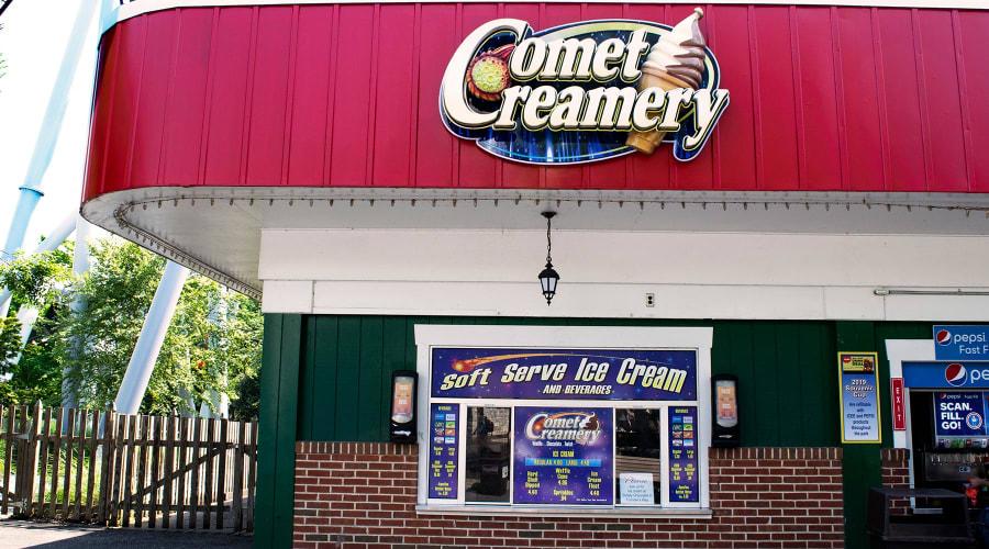 Comet Creamery food stand signage