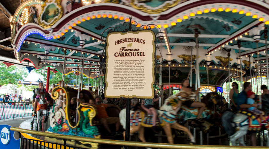 Sign describing the history of the carrousel at Hersheypark