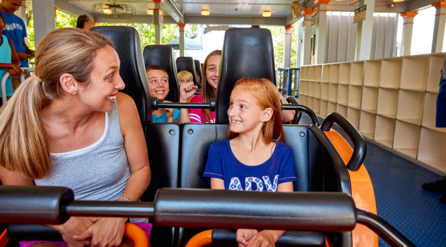 Mom and Daughter excited to ride the Sooper Dooper Looper Roller Coaster