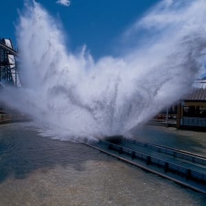 Large Wave of Water created by the Tidal force train hitting the water at the bottom of the hill