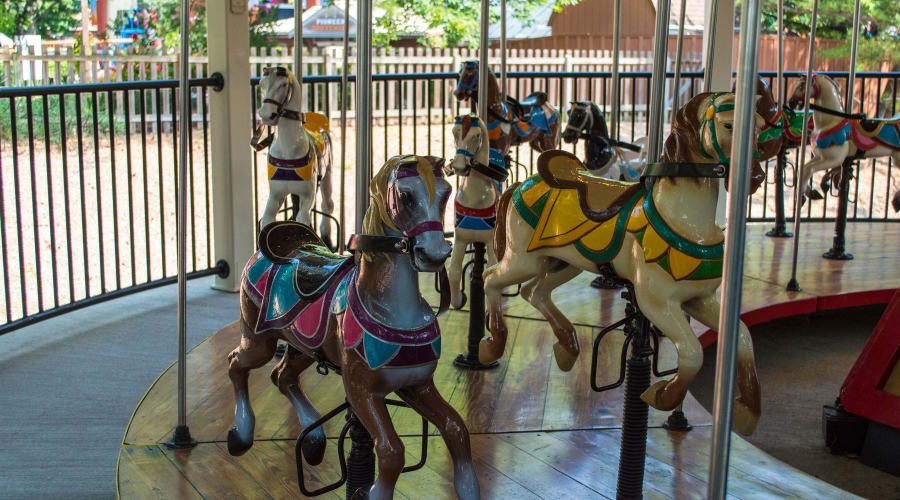 Horses from the Livery Stables ride at Hersheypark
