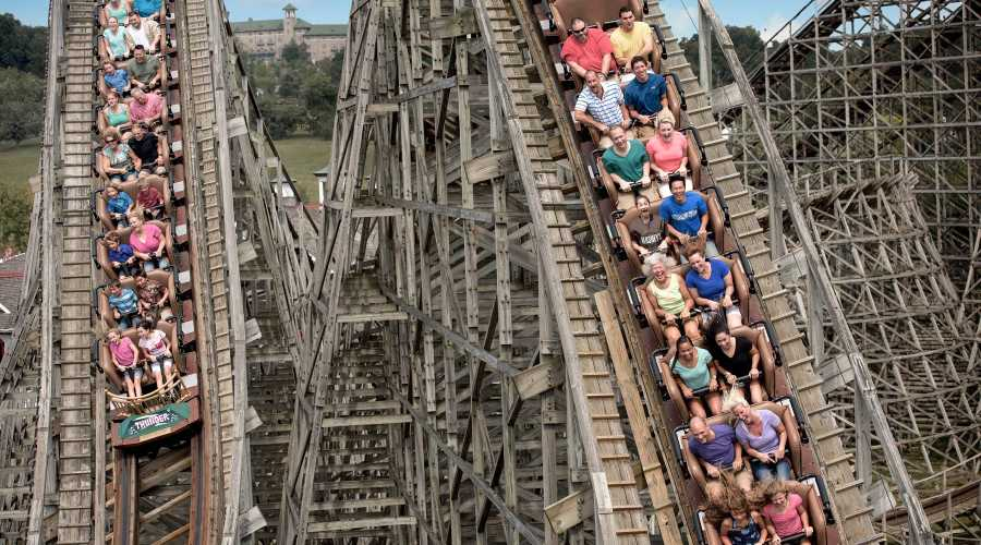 People on Lightning Racer Wooden Roller Coaster