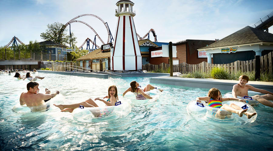 family floating in Intercoastal Waterway Lazy River