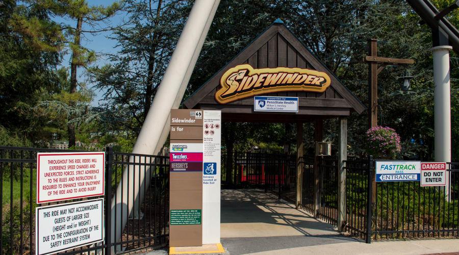 Sidewinder Rollercoaster sign at Hersheypark