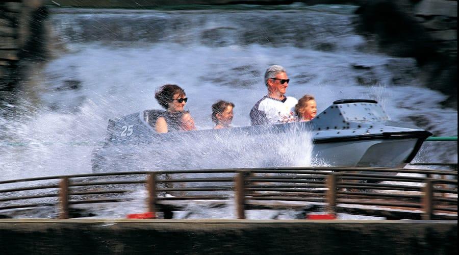 Family riding the coal cracker at Hersheypark