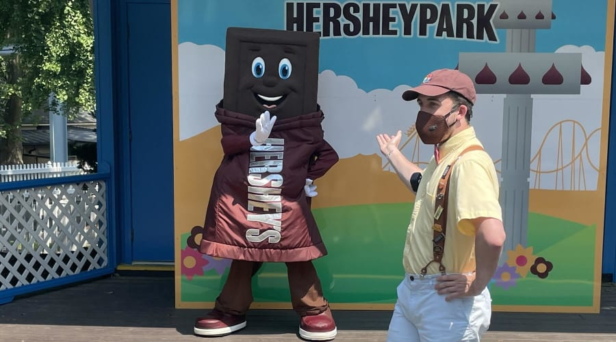 Take a picture with Hershey Bar